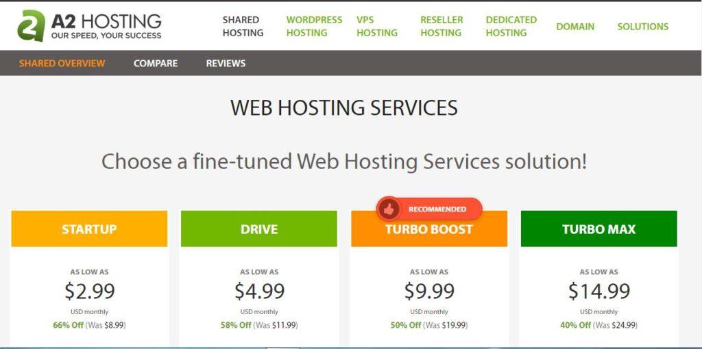 a2 shared hosting plan